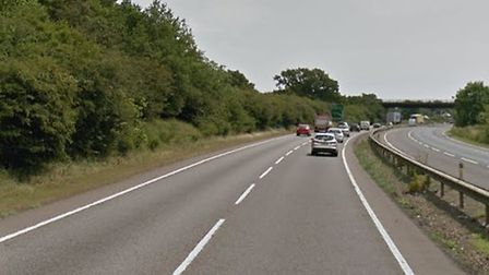 The incident happened between junction 47 and 47a near Woolpit Picture: GOOGLE MAPS