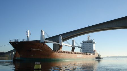 Cargo vessel Dijksgracht goes under the Orwell Bridge on its way to the Port of Ipswich Picture: A