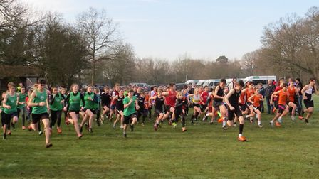 The start of the junior race at the final NESS Cross Country League meeting of the season, held ay G