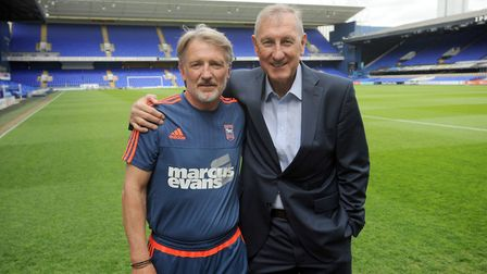 Russell Osman, left, with ex-Town team-mate Terry Butcher at Portman Road. Picture: ARCHANT