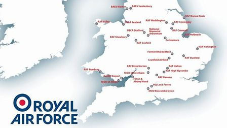 The Tornado flypast map Picture: RAF