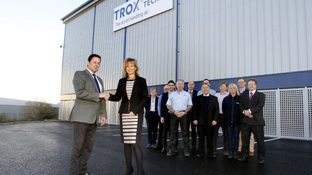 Darren Webb and Suzanne Archer with the project team at TROX UK, Thetford Picture: PAUL NIXON