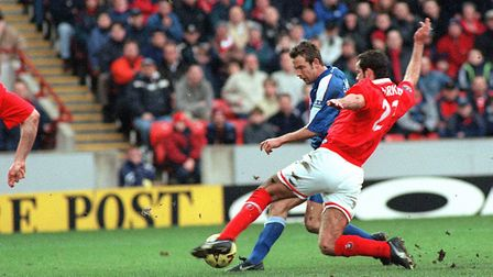 Marcus Stewart scores his first-ever goal for Ipswich Town in the away match at Barnsley in 2000.