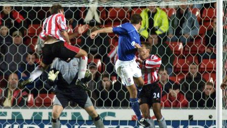 Ipswich Town's Marcus Stewart (right) heads an equaliser against Southampton during a Premiership ma