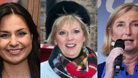 MPs Heidi Allen, Anna Soubry and Sarah Wollaston who have resigned from the Conservative Party and j