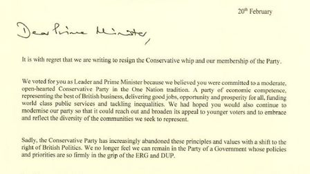 The letter to the Prime Minister, written and signed by MPs Heidi Allen, Anna Soubry and Sarah Wolla
