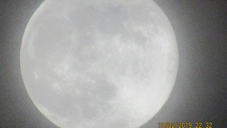Detailed shot by Stuart of the Supermoon over Suffolk Picture: STUART HAWES