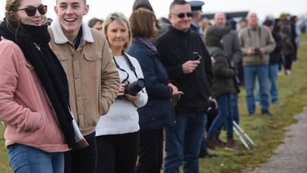 Crowds ready for the farewell flypast of the Tornado aircraft at RAF Honington. Picture: DENISE BRAD