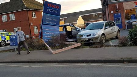 Police were called to the scene of a crash at Tesco Express in Aldeburgh Picture: CONTRIBUTED