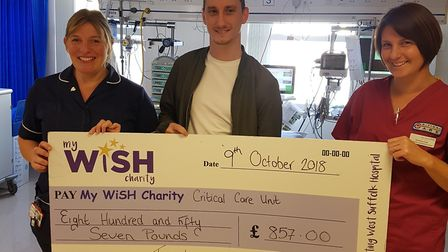 Tony Lawrence with Debra Baker (left) and Gemma Cox from West Suffolk Hospital Picture: My WiSH