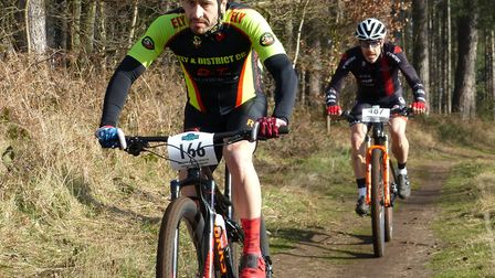 Matt Eley (in front) and Jimmy Piper both gained places on the last lap at Shouldham Warren. Picture