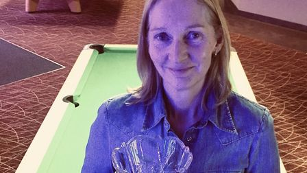 Kim O'Brien, who won the ladies singles title at the European Eight Ball Pool Championships for the