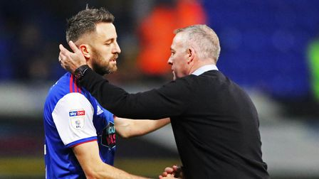 Paul Lambert puts an arm round a disappointed Cole Skuse following the 2-1 defeat by West Bromwich A