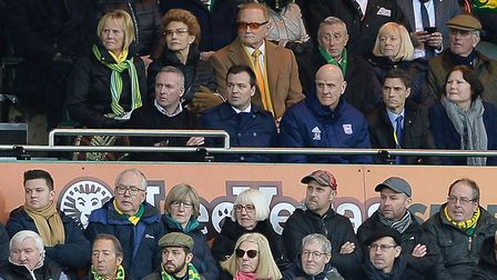 Paul Lambert is in the Directors box after being sent off just before half-time at Norwich Picture