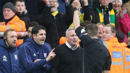 Ipswich Town manager Paul Lambert has been banned fromt he touchline for two games following his red