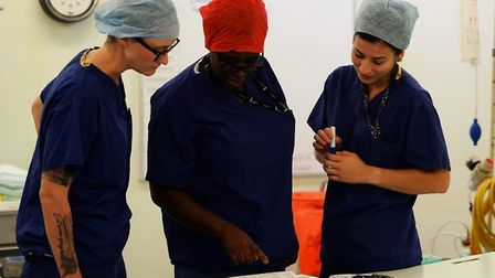 Tech Sgt Amy Templeton (left), NCO in charge of the operating room for the 48th Surgical Operations