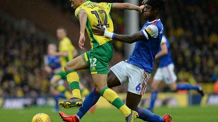 Trevoh Chalobah chases down Jamal Lewis of Norwich City. Picture Pagepix