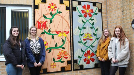 Left to right: Meredith Halls, 17, Ruth Burgess, 17, Lottie Ellis, 17, Gabrielle Murphy, 18, in fron