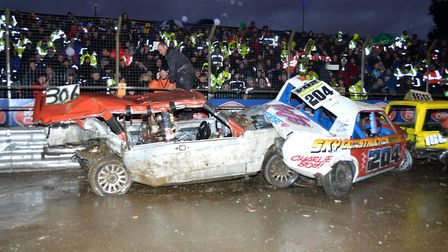 Typical National Banger action, back at Foxhall this weekend Photo: CHRIS BERRY