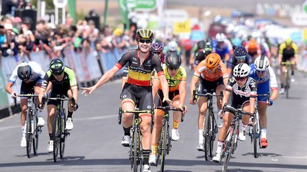 Jolien D'Hoore wins the first stage of the OVO energy Women's Tour in Southwold on a previous occasi