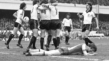 Town players celebrate one of their three goals as they beat West Brom 3-1 at Highbury in 1978 to re