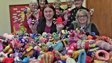 Labour MEP Alex Mayer with representatives from AgeUK as part of the nationwide Big Knit with Innoce