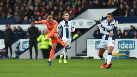 Teddy Bishop firing a first half shot which was deflected for a corner Picture Pagepix