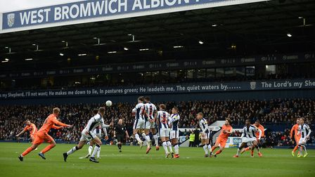 Alan Judge with a first half free-kick at West Brom Picture Pagepix