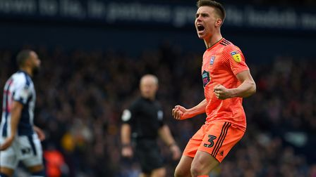 Jonas Knudsen celebrates the Ipswich equaliser at West Brom Picture Pagepix
