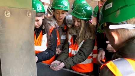 Schoolchildren from Sidgate Primary School visiting Sackers recycling site at Great Blakenham Pictu