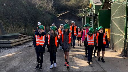 Sidgate Primary School pupils took a tour of the Sackers recycling site