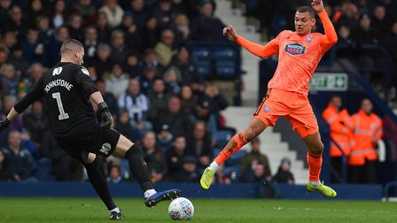Kayden Jackson closes down Sam Johnstone at West Brom Picture Pagepix