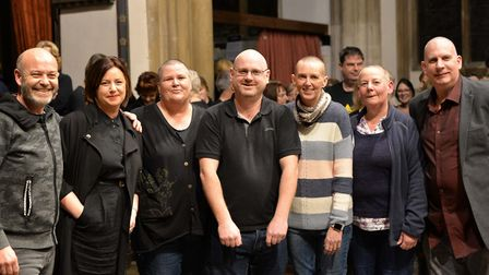 Jo Searle, chief executive of The Bridge Project (third from left) had her head shaved along with fo