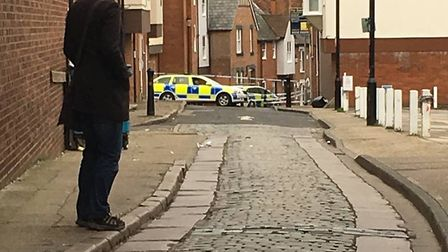 The junction of Maidenburgh Street and George Street, Colchester was cordoned off on Saturday Pictur