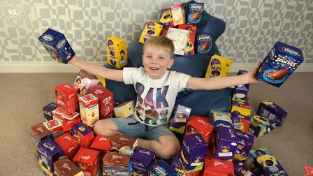 Spencer Morten is collecting easter eggs for the Rainbow Ward at West Suffolk Hospital Picture: SAR