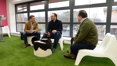 Jim Fennell of Salubrious Sauce Co, centre, with Paddy Bishopp, left and Toby Durrant of Shout About
