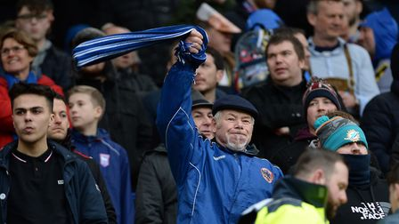 An Ipswich Town fan at carrow Road. Photo: Pagepix