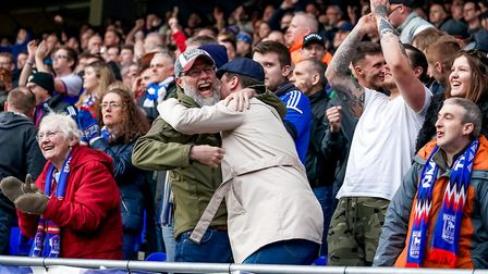 Town fans celebrate Gwion Edwards' late leveller against Reading. Photo: Steve Waller