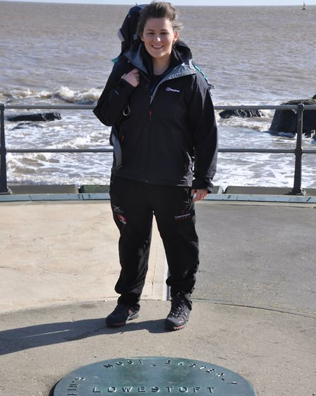 Firefighter Sasha Acheson sets off on her walk from Ness Point in Suffolk Picture: SUPPLIED BY FAMIL