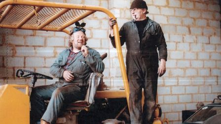 Bob Carter � and pipe! � in his workshop at the old Debach airfield, near Woodbridge, with old mate
