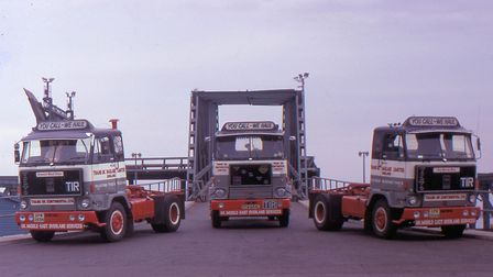 At Felixstowe, where ro-ro ships came to berth. This 1975 picture shows three Volvo F88s from Bob?s