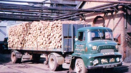 Bob�'s dad Leslie�'s Dodge artic, with wood from Rendlesham Forest. At the Celotex factory in Neasde