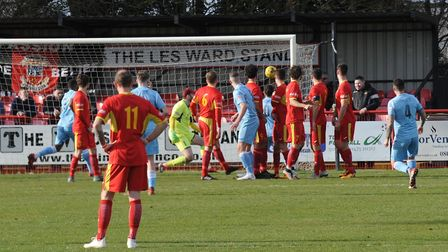 Tamworth celebrate going two-up at Needham Photo: BEN POOLEY