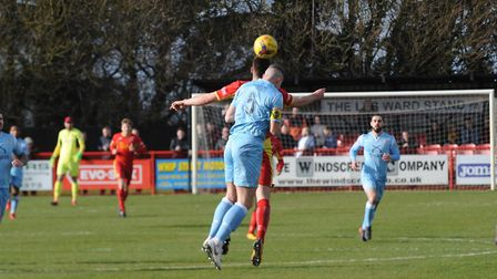 Both teams battling for possession at Needham, where Tamworth took the points Photo: BEN POOLEY