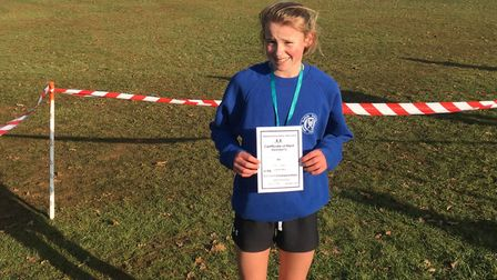 Ruby Vinton, who won the under-13 girls' race at the Inter-Counties Championships over the weekend.