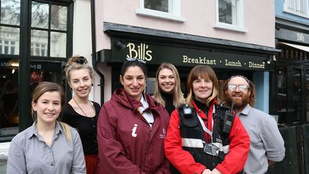 Our Colchester street ambassador and Colchester Council zone warden with staff from Bill's restauran