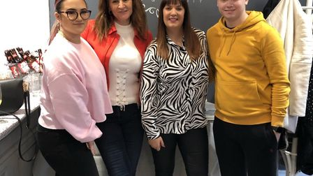 Left to right: Harrison's girlfriend Fi, mother Fiona, Luxurious Nail's owner Sharon and Harrison Fa