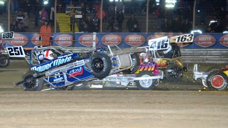 Sparks fly as the Superstox get stuck in . Photo: CHRIS BERRY