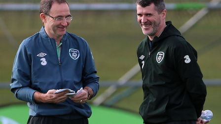 Martin O'Neill and Roy Keane share a joke during their time together at Ireland. Picture: PA