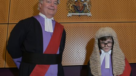 Judge Overbury with Henry from St Marks Primary School Picture: SARAH LUCY BROWN